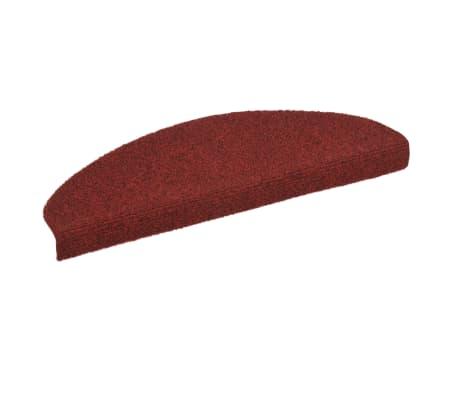 vidaXL 15 pcs Self-adhesive Stair Mats Needle Punch 65x21x4 cm Red