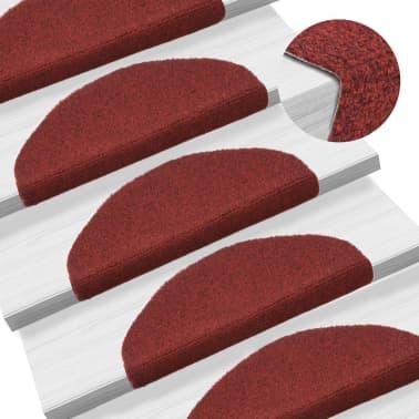 vidaXL Covorașe autocolante de scări, 15 buc, 65 x 21 x 4 cm, roșu[1/6]