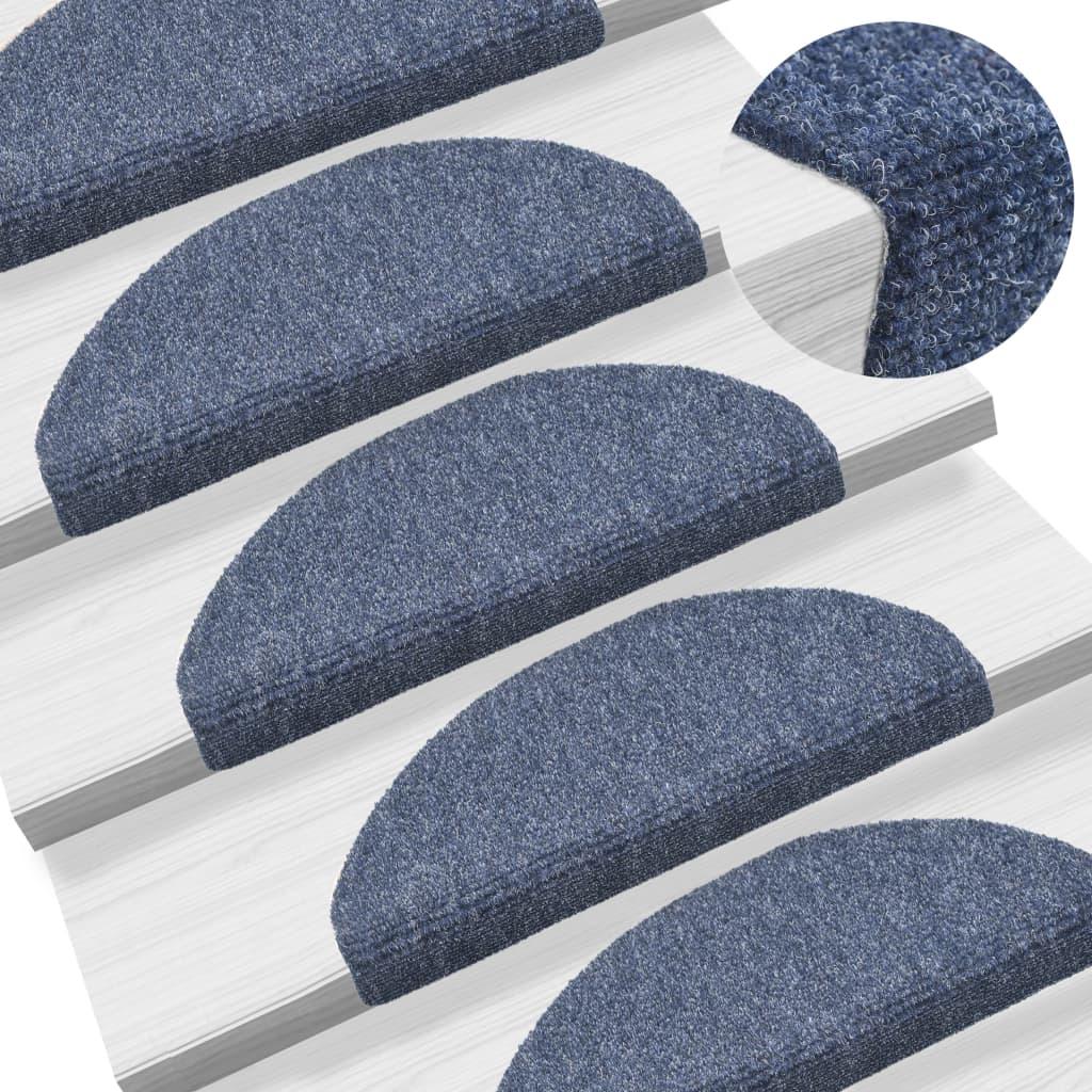 vidaXL Samolepící nášlapy na schody 15 ks vpichované 65x21x4 cm modré