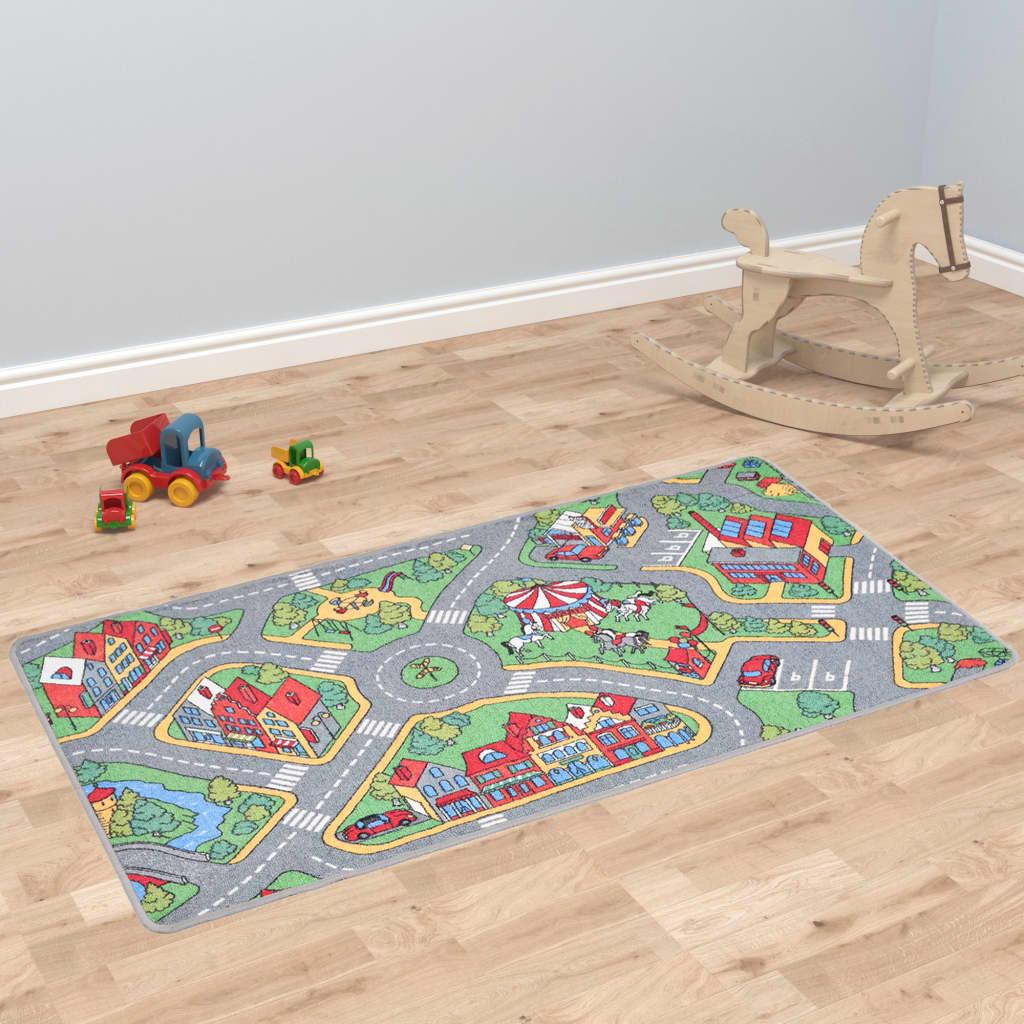 Hrací koberec se smyčkovým vlasem 100x165 vzor Městská silnice