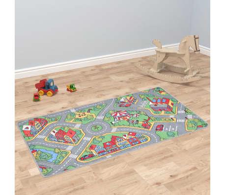 vidaXL Žaidimų kilimėlis, kilp. pūkas, 133x190cm, miesto kelio diz.[1/8]
