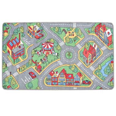 vidaXL Tapis de jeu Poil à boucle 190 x 290 cm Motif de route de ville[3/8]
