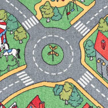vidaXL Tapis de jeu Poil à boucle 190 x 290 cm Motif de route de ville[4/8]
