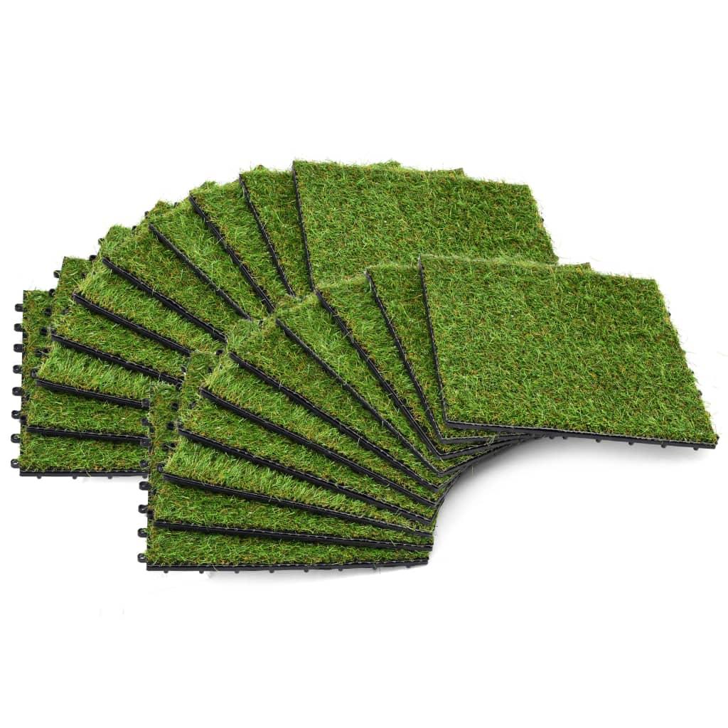 vidaXL Dlaždice s umělou trávou 20 ks 30 x 30 cm zelené