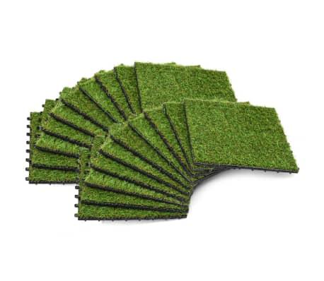 vidaXL Dirbtinės žolės plytelės, 20 vnt., 30 x 30 cm, žalios spalvos