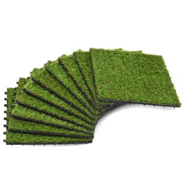 vidaXL Плочки изкуствена трева, 10 бр, 30x30 см, зелени[1/5]