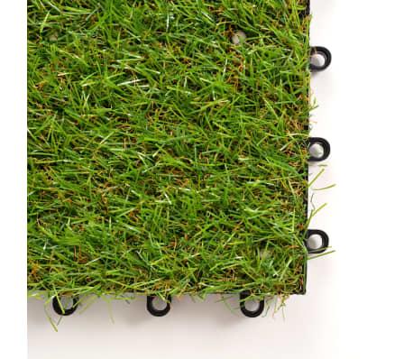 vidaXL Плочки изкуствена трева, 10 бр, 30x30 см, зелени[3/5]