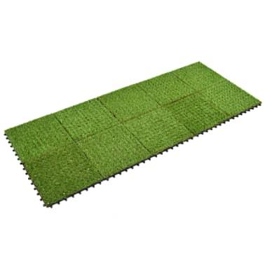 vidaXL Плочки изкуствена трева, 10 бр, 30x30 см, зелени[2/5]
