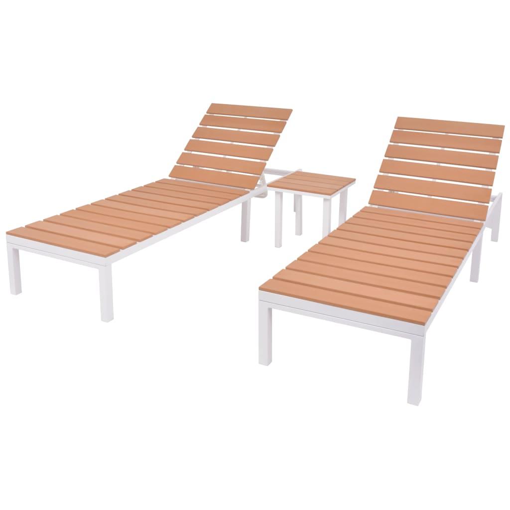 vidaXL Șezlonguri de plajă cu masă, 2 buc., alb & maro, aluminiu & WPC vidaxl.ro