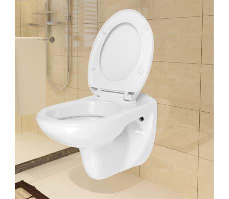 vidaXL Vägghängd toalett med cistern mjuk stängning keramik vit WC[2/17]