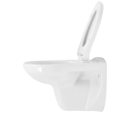 vidaXL Vägghängd toalett med cistern mjuk stängning keramik vit WC[6/17]