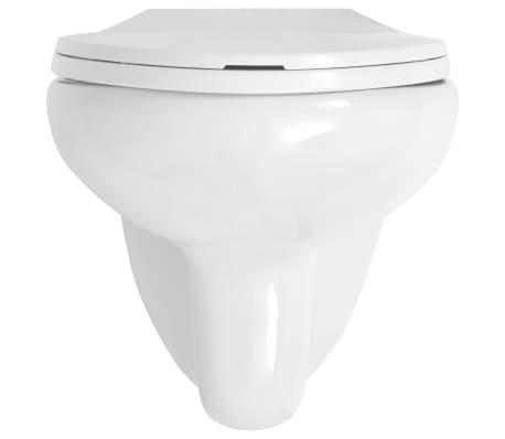 vidaXL Vägghängd toalett med cistern mjuk stängning keramik vit WC[8/17]