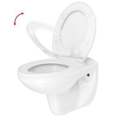 vidaXL Vägghängd toalett med cistern mjuk stängning keramik vit WC[3/17]