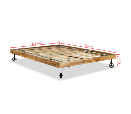 vidaXL Lit avec matelas Bois de manguier brut 140 x 200 cm[16/20]