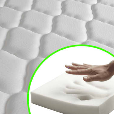 vidaXL Lova su čiužiniu Memory, 140x200 cm, neapdirbta mango mediena[14/21]