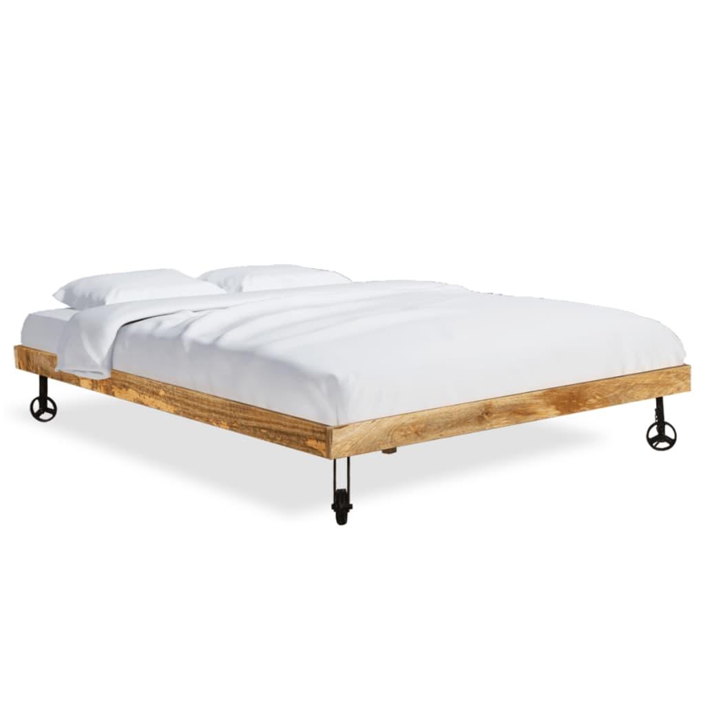 vidaXL Κρεβάτι 180x200 εκ. Ακατέργαστο Ξύλο Μάνγκο Στρώμα Αφρού Μνήμης