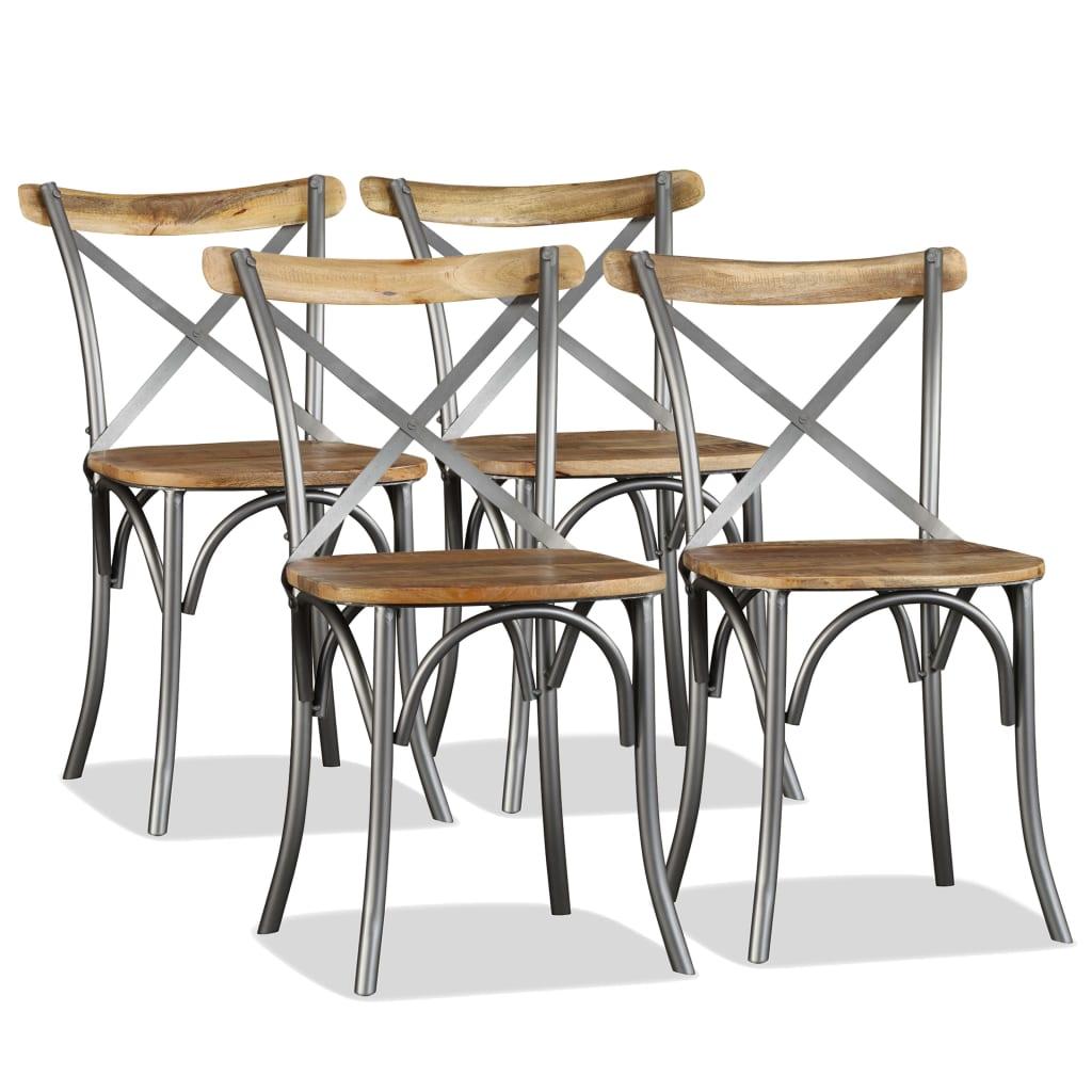 vidaXL Καρέκλες Τραπεζαρίας 4 τεμ. από Μασίφ Ξύλο Μάνγκο και Ατσάλι