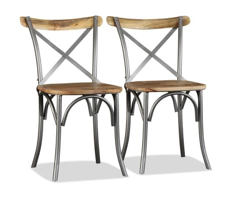 vidaXL Chaise de salle à manger 4 pcs Bois de manguier massif et acier[2/11]