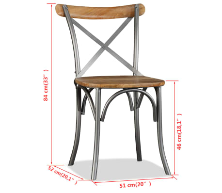 vidaXL Chaise de salle à manger 4 pcs Bois de manguier massif et acier[11/11]