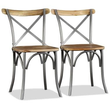 vidaXL Chaise de salle à manger 4 pcs Bois de manguier massif et acier[3/11]