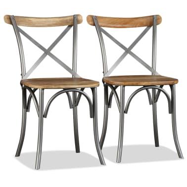 vidaXL Chaise de salle à manger 4 pcs Bois de manguier massif et acier[5/11]