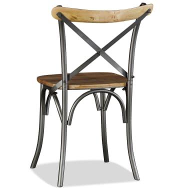 vidaXL Chaise de salle à manger 4 pcs Bois de manguier massif et acier[8/11]