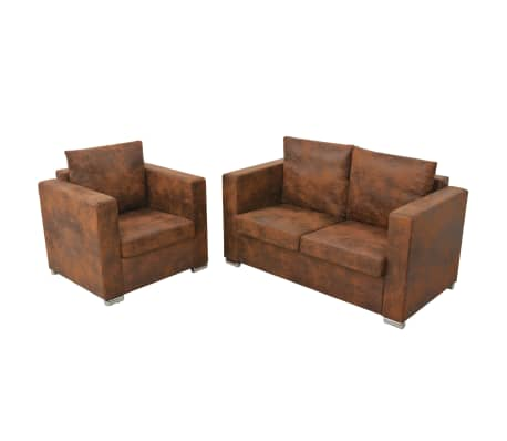 acheter vidaxl ensemble de canap s 2 pcs cuir daim synth tique pas cher. Black Bedroom Furniture Sets. Home Design Ideas