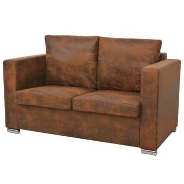 acheter vidaxl ensemble de canap s 2 pcs cuir daim synth tique pas cher. Black Bedroom Furniture Sets. Home Design Ideas