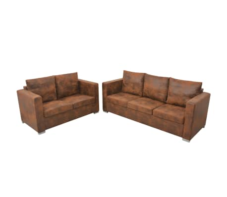 vidaXL Sofa Set 2 Pieces Artificial Suede Leather