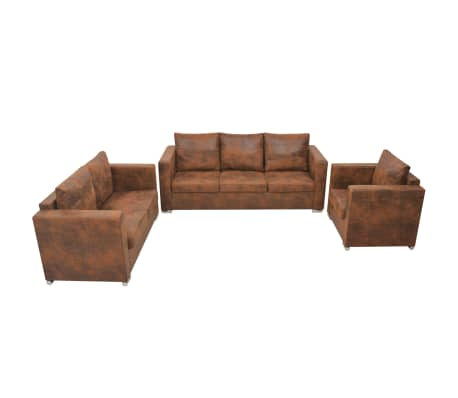vidaXL Sofa Set 3 Pieces Artificial Suede Leather