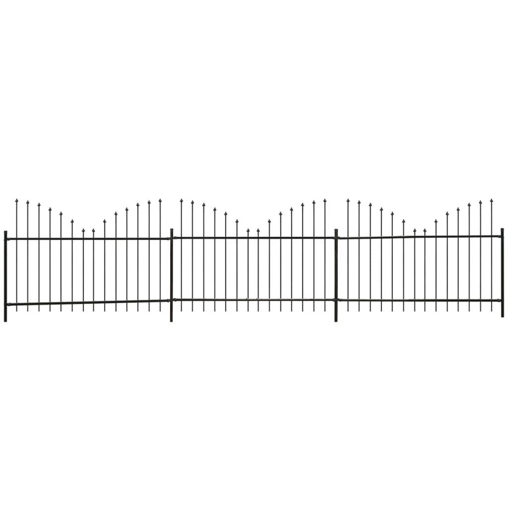 vidaXL Zahradní plot s obrácenými hroty, ocel, (1,25-1,5)x6 m, černý