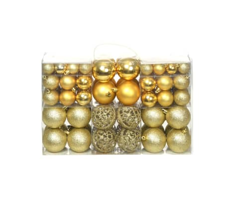 vidaXL Комплект коледни топки от 100 части, 6 см, злато