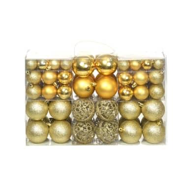 vidaXL Božično novoletne kroglice 100-delni komplet 6 cm zlate[1/11]