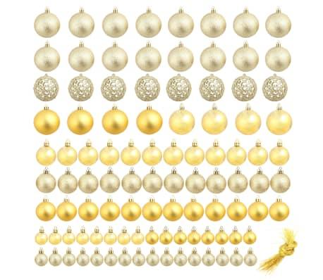vidaXL Božično novoletne kroglice 100-delni komplet 6 cm zlate[2/11]