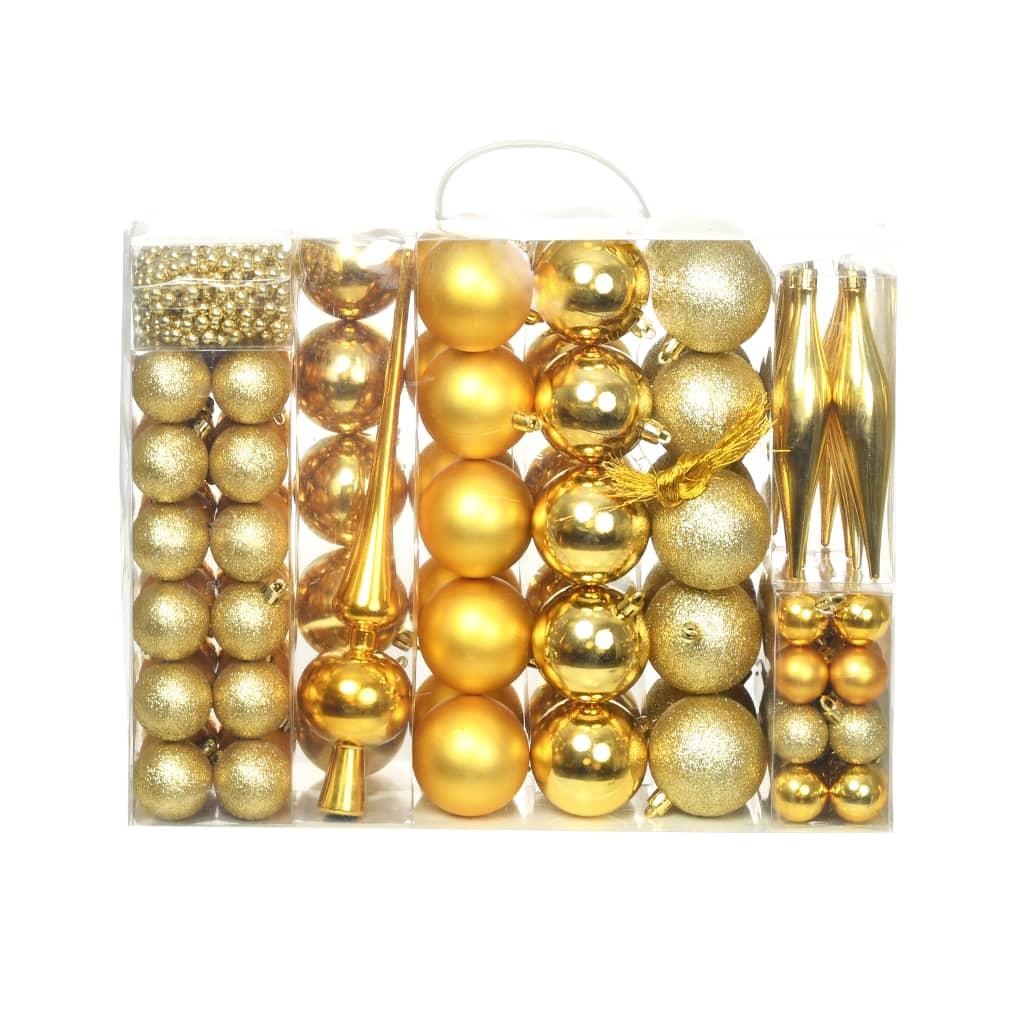 Sada vánočních baněk 113 kusů 6 cm zlatá