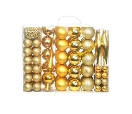 vidaXL 113 darabos aranyszínű karácsonyi gömb készlet 6 cm