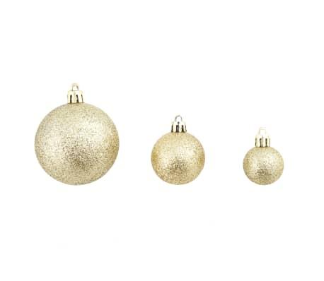 vidaXL Eglutės žaisliukų rinkinys, 113 vnt., 6 cm, auksinės spalvos[3/13]