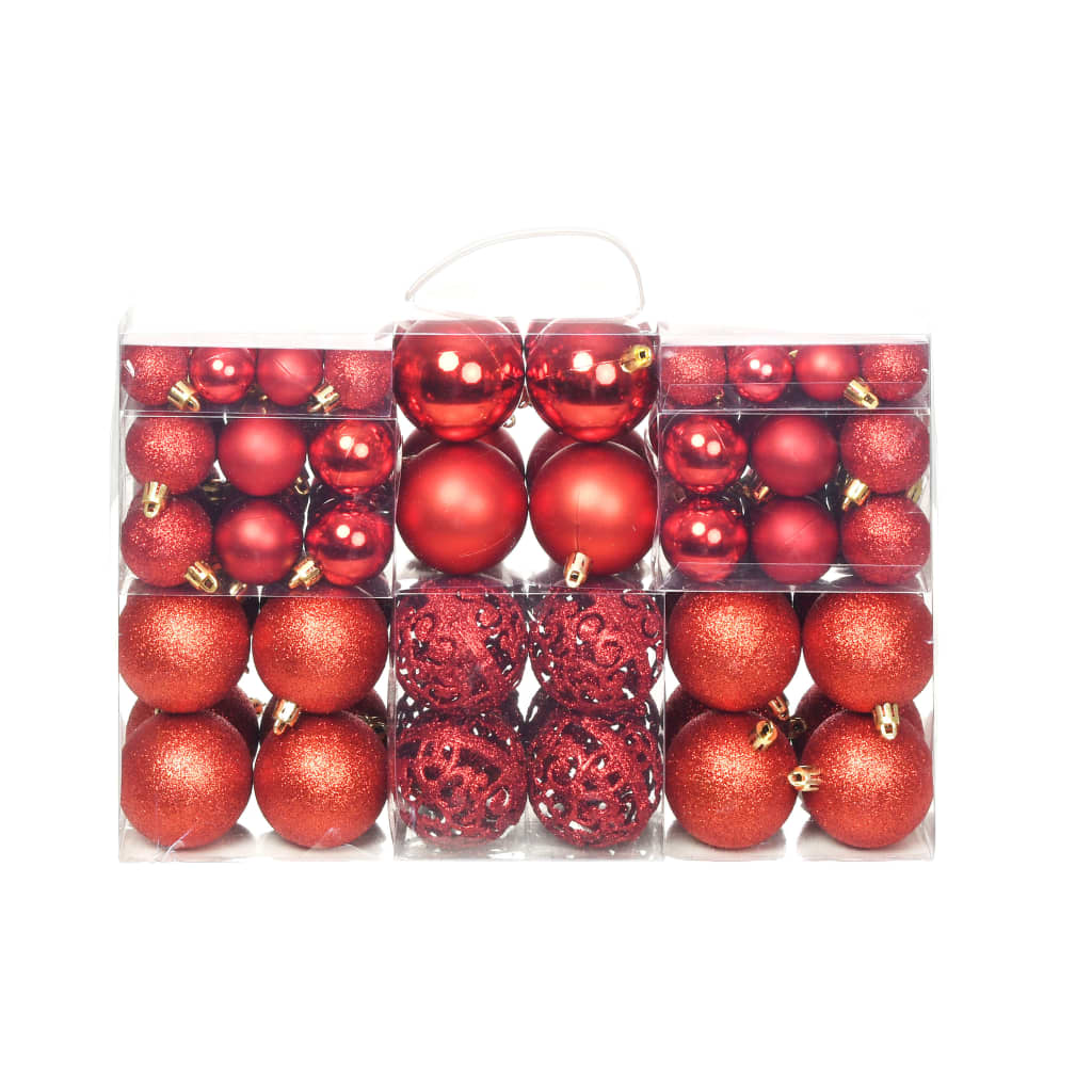 Image of vidaXL 100 Piece Christmas Ball Set 6 cm Red
