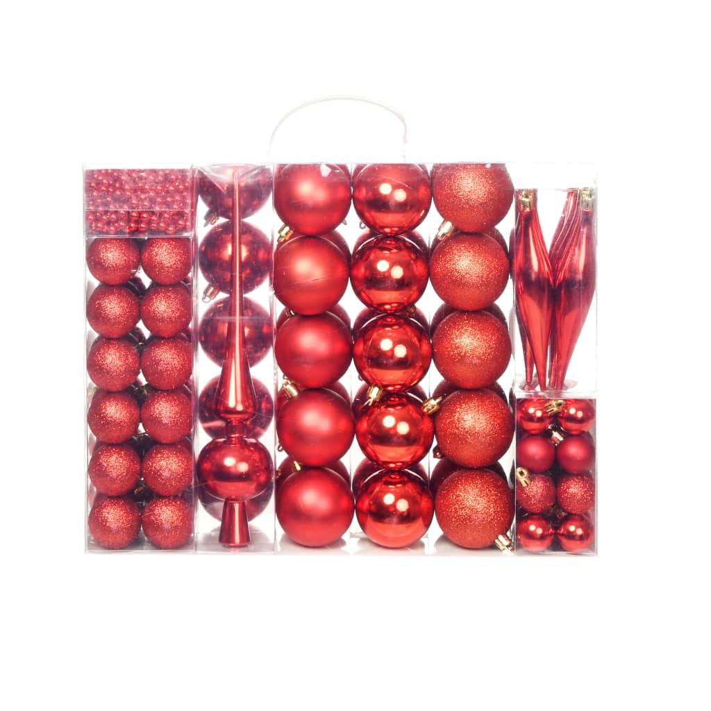 vidaXL Set globuri de Crăciun 113 piese, 6 cm Roșu imagine vidaxl.ro