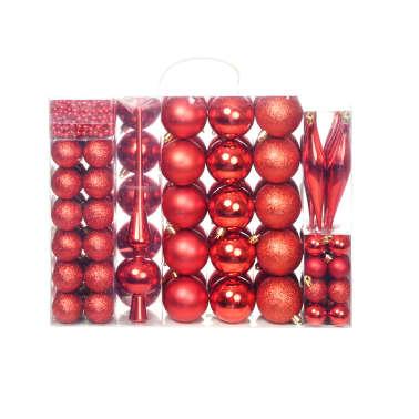 vidaXL Set globuri de Crăciun 113 piese, 6 cm Roșu[1/13]