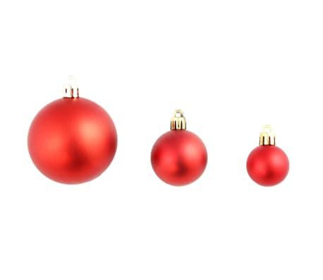 vidaXL Set globuri de Crăciun 113 piese, 6 cm Roșu[4/13]