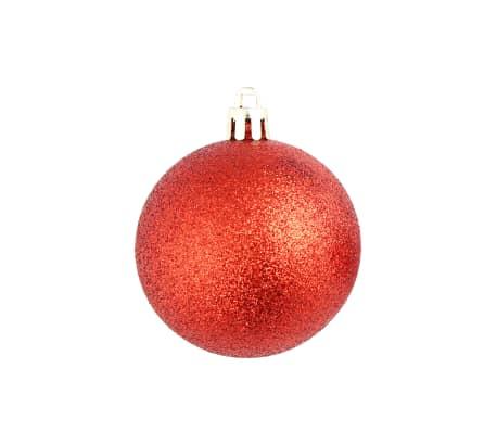 vidaXL Set globuri de Crăciun 113 piese, 6 cm Roșu[9/13]