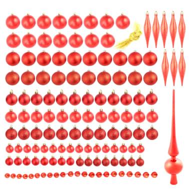 vidaXL Set globuri de Crăciun 113 piese, 6 cm Roșu[2/13]
