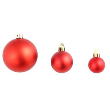 vidaXL Set globuri de Crăciun 113 piese, 6 cm Roșu[3/13]
