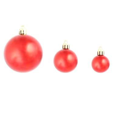 vidaXL Set globuri de Crăciun 113 piese, 6 cm Roșu[5/13]