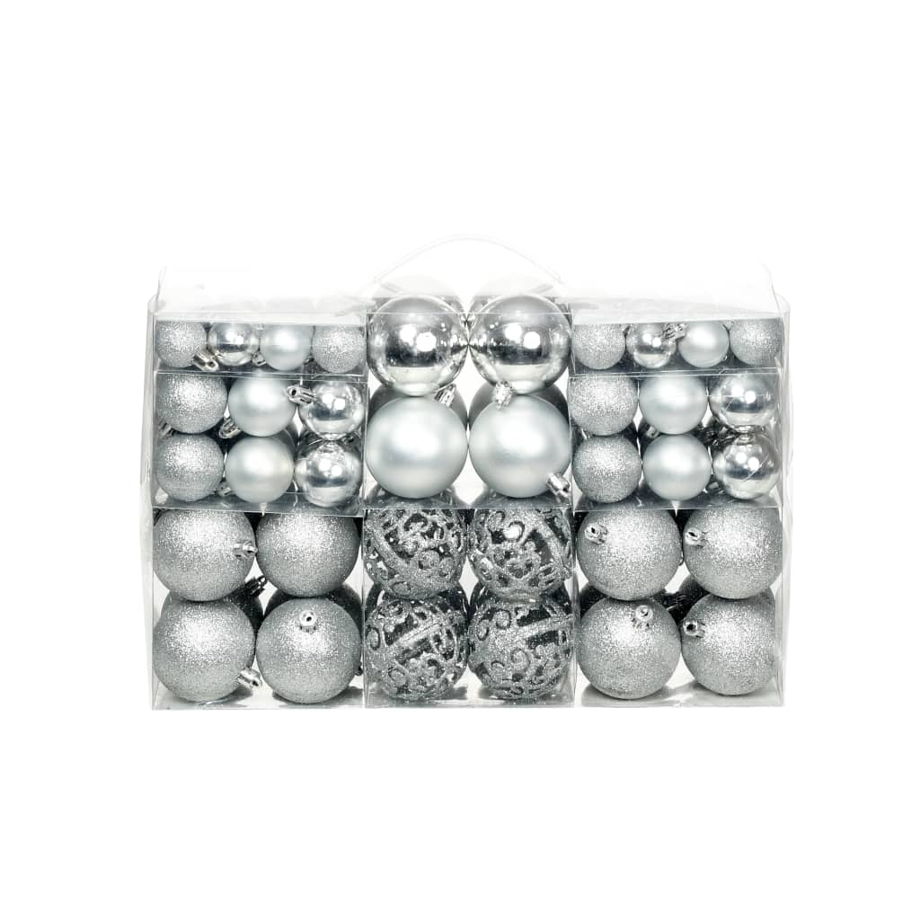 Image of vidaXL 100 Piece Christmas Ball Set 6 cm Silver