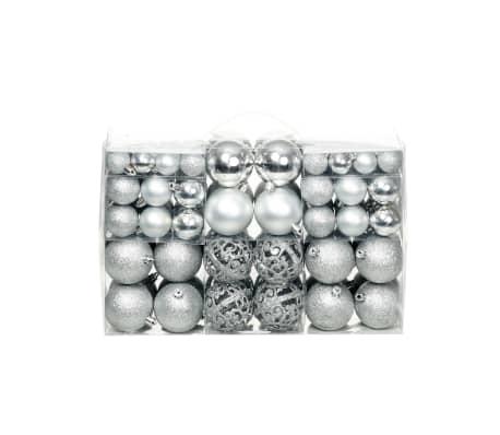 vidaXL Set božićnih kuglica 100 komada 6 cm srebrni