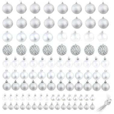 vidaXL julekuglesæt 100 stk. 6 cm sølvfarvet[2/11]