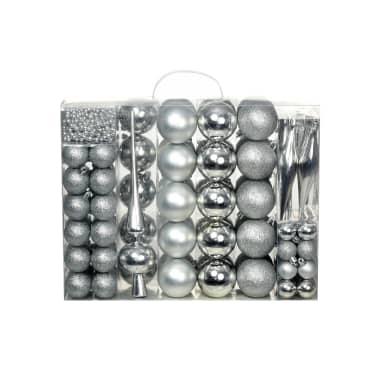 vidaXL 113-tlg. Weihnachtskugel-Set 6 cm Silbern[1/13]