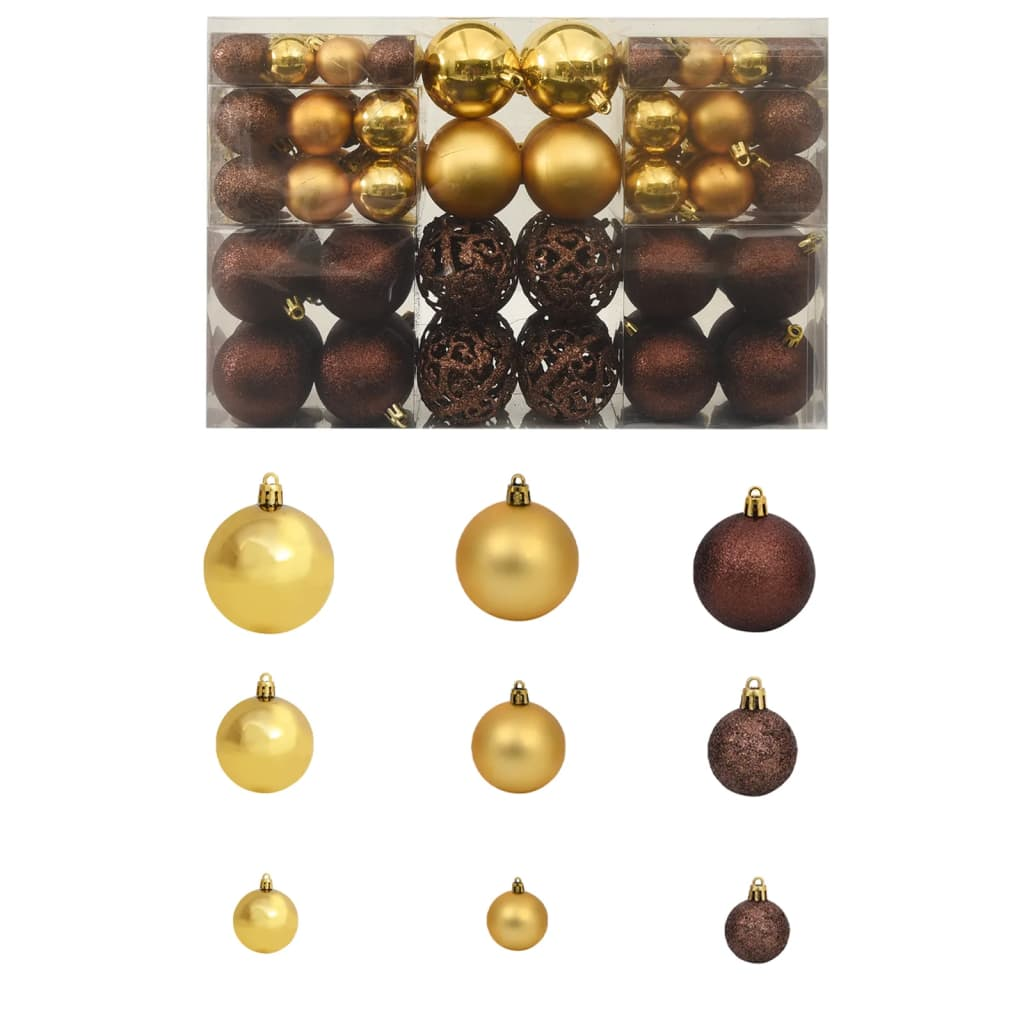 Image of vidaXL 100 Piece Christmas Ball Set 6 cm Brown/Bronze/Gold
